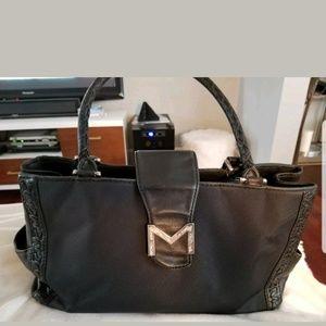 Michael kors black stitched leather/canvas purse